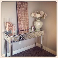 @Kristolyn3610 created a reflective entryway with our Sophie Mirrored Console Table.