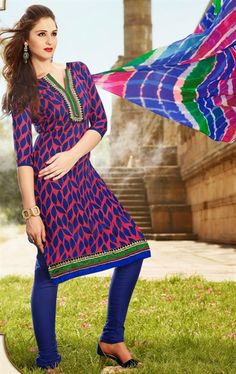 Picture of Luscious Blue and Fuchsia Casual Salwar Kameez