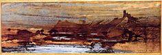 """""""The Dead City"""", c. 1850  Ink, wash, charcoal (scraper), 42 x 64 cm, Lucien Scheler Collection, Paris"""
