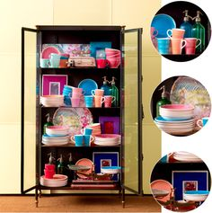 Cabinet full of colourful tableware by Zara Home