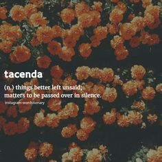 Tacenda Things better left unsaid; Matters to be passed over in silence.