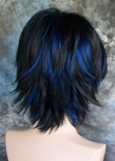 LARGE FIT.Goth Jet Black with Blue highlights Wig/Wigs | eBay