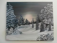 Oil Handmade Painting Caught At Night In The Woods Modern Wall Decoration Contemporary Snow Trees Landscape Art Hand Painted Art For Sale