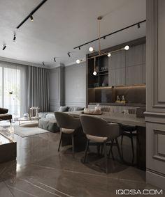 Modern classic in Albania on Behance Modern Classic Interior, Modern Interior Design, Interior Architecture, Modern Decor, Apartment Interior, Apartment Design, Kitchen Interior, Layout Design, Condominium Interior