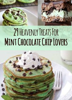 29 Heavenly Treats For Mint Chocolate Chip Lovers. Mint Chocolate Chip is my favorite. Mint Desserts, Desserts With Chocolate Chips, Mint Chocolate Chip Cookies, Chocolate Chip Pancakes, Chocolate Chip Recipes, Delicious Desserts, Dessert Recipes, Yummy Food, Cake Recipes