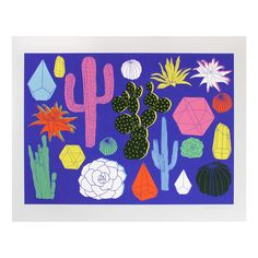 Cactus Print - Multicolour @ Howkapow  -- curious about a slightly hand-drawn look.