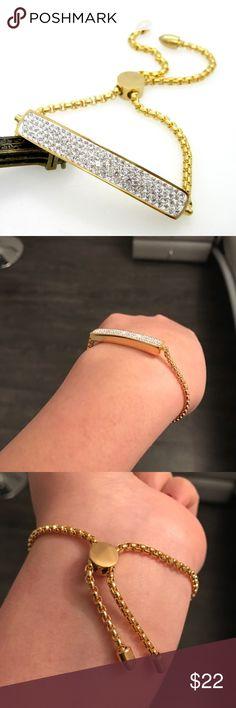 Trendy Bracelet Fashion! Full Crystal Gold Plated Bracelet. Metal type: Stainless Steel. Jewelry Bracelets