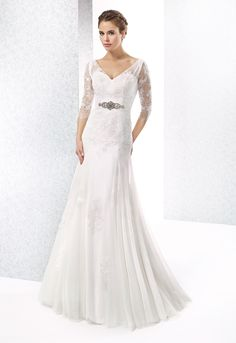 Simple A Line V Neck BeadinCrystal Sashes Ribbons Lace Sweep Brush Train