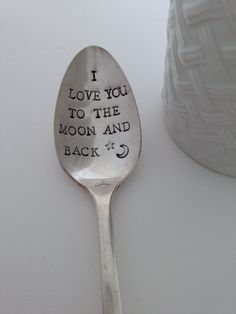 I love you to the moon and back Vintage Silver by SilverBlissShop