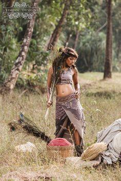 LONG PIXE SKIRT  Faery fairy costume Boho Hippie von TimjanDesign