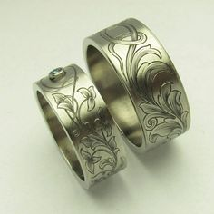 hand engraved Titanium wedding bands