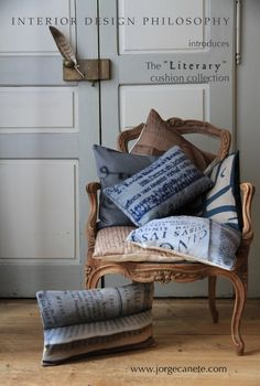 literary cushion collection by Jorge Canete, via Behance