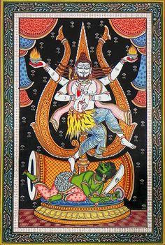 Shiva as Nataraja (Orissa Paata Painting on Canvas - Unframed))