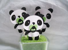 Panda bear cupcake toppers baby shower by NancysBannerBoutique,