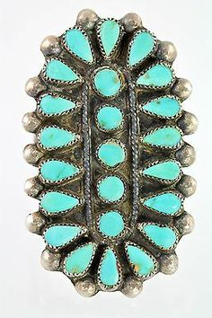 Ring Sterling Silver Petit Point Rosette Turquoise 7 5 Vintage Zuni Style | eBay