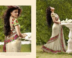 Beautiful Designer saree crafted with sophistication for Bridal, Wedding and Party occasion. Gorgeous Designs with sober colors and work will enhance your beauty. This is Cream Georgette Saree with Blouse. Its has Pearl work in form of motif and zari and resham embroidary .