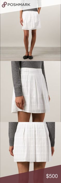 """[Vince] Windowpane Pleated Skirt Beautiful gauzy textured skirt from Vince.  All over pleats.  Side zip.  Slash pockets.  Cotton/polyester.  Size 10.  Length: 21"""".  New with tags. Vince Skirts Mini"""
