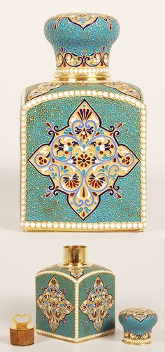 A Russian silver gilt and cloisonné enamel tea caddy, Gustav Klingert, Moscow, 1894. Of traditional form with sloping shoulders, the caddy decorated in multi-color diamond shape cartouches against a stippled gilded ground surrounded by a filigree and turquoise enamel ground, outlined by rows of white enamel beads, the dome-shape lid similarly decorated. Containing the original gilded silver mounted cork stopper.