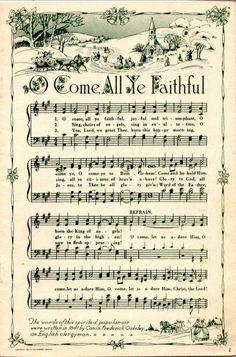 Remodelaholic   25+ Free Printable Vintage Christmas Sheet Music; Day 10