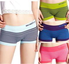 BOBRA Safety Panties Stripe Women's Underwear Fashion Boyshots Boxer Brief