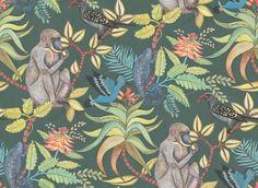 Красочные обои для комнаты с мохнатыми обезьянками, игривыми птицами и настороженными хамелеончиками на темном фоне заказать с доставкой до квартиры
