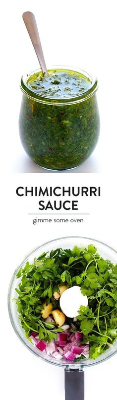 This homemade Chimichurri Sauce recipe is super easy to make in the food processor or blender, and it's full of easy, fresh, and delicious ingredients, and it's perfect for topping seafood, steak, veggies, or whatever sounds good.   gimmesomeoven.com