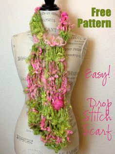 NobleKnits Knitting Blog: Free Knitting Pattern: Easy Drop Stitch Scarf!