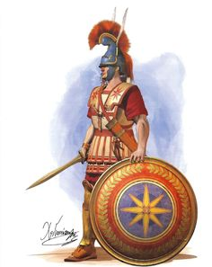 Macedonian infantry hoplite (4th century BCE) - Phrygian helmet with jaw protectors - Linen cuirass - Hoplite shield with the Vergina sun symbol - Double edged sword  Drawing by C.Giannopoulos for Periskopio Editions