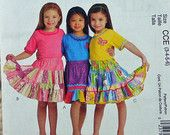 Girls Skirt, McCalls M5841 Pattern, Tiers, Ruffles, Elastic Waist, Appliques, Knee Length, 2009 Uncut, Size 3 4 5 6 or 6 7 8, 3-oz