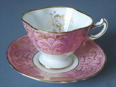 Vintage Pink and Gold Gilt Cupid Putti Tea Cup