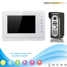 """GZGMET WHITE  7"""" TFT Doorbell Video monitor Door Phone Intercom System vs night vision Camera"""
