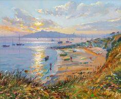 Title: Summer Sunset over Pendennis Size: 10 x 12 inches Medium: Oil on canvas