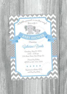 Baby Shower Invitation Elephants Invitation Baby Shower