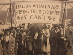 Perfect English women protesting their government us stance on refusing to allow them to serve in WWI in