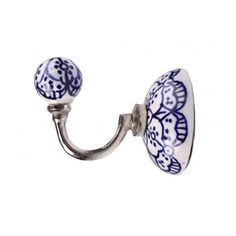 Cabide Cerâmica Azul Indiano Detalhado Com Branco - R$ 44,90