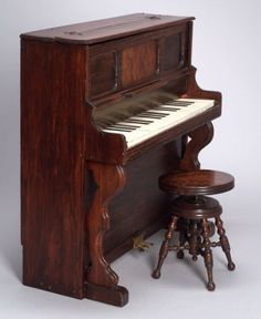 Large Schoenhut Upright Toy Piano and Stool with unusable painted-on black keys (but handy for learning position of keys). Antique Toys, Vintage Toys, Vintage Antiques, Paper Clay, Paper Mache, Piano For Sale, Stools For Sale, Stair Landing, Musical Toys