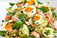 Adding the salmon flakes and boiled eggs turns it into a hearty summer meal or great pot luck salad.