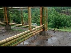 Bamboo Building, Natural Building, Deck Footings, Canoe Storage, Bamboo House Design, Bamboo Structure, Bamboo Architecture, Building Concept, Bamboo Crafts