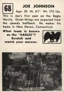 1951 Topps #68 Joe Johnson Back