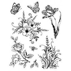 flowers and butterflies #digi stamp #line drawing