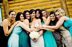Sea green theme for bridesmaids