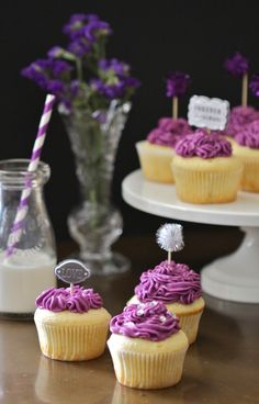 Climbing Grier Mountain » classic vanilla cupcakes with purple buttercream frosting