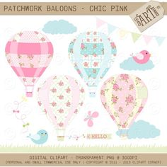 Patchwork Hot Air Balloons Clip Art / Digital by MyClipArtStore Air Ballon, Hot Air Balloon, Balloon Party, Pink Quilts, Clip Art, Pink Art, Balloons, Shabby Chic, Creative