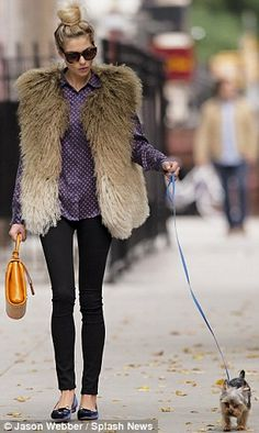 Jessica Hart was seen wearing fur gilet in New York City on Sunday