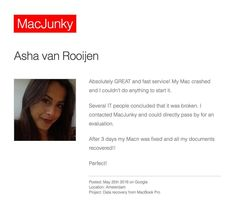 "New review --> https://macjunky.nl/?p=258296 ""Absolutely GREAT & fast service!"" #apple #mac #macbook #macbookpro #datarecovery #macjunky #amsterdam"