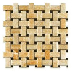 Honey Onyx Polished Basketweave Mosaic Tile W Black Dots X Sample Moldings Coupon Michael Kors