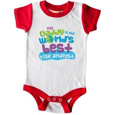 Inktastic My Daddy Is The World's Best Risk Analyst Infant Creeper Baby Bodysuit Child's Kids Gift Analyst's Son Childs Like Cute Occupation Apparel Occupations One-piece Hws, Boy's, Size: 12 Months, Red