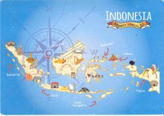 Indonesian map postcard