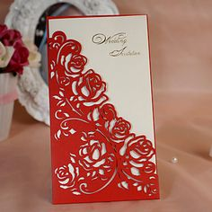 Floral Cut-out Wedding Invitation (Set of 50) - USD $ 59.99