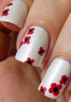 Remembrance Day poppy manicure